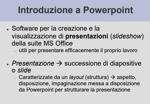 Introduzione a MS PowerPoint